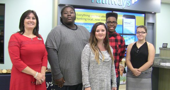 Left to Right: Maria Gonzalez, Branch Manager of Pathways Financial Credit Union, 750 Georgesville Rd., with Franklin Heights High School student Quantez Merchant, Art Teacher Sue Ly, student Walter Lee, and student Corin Hockingberry.