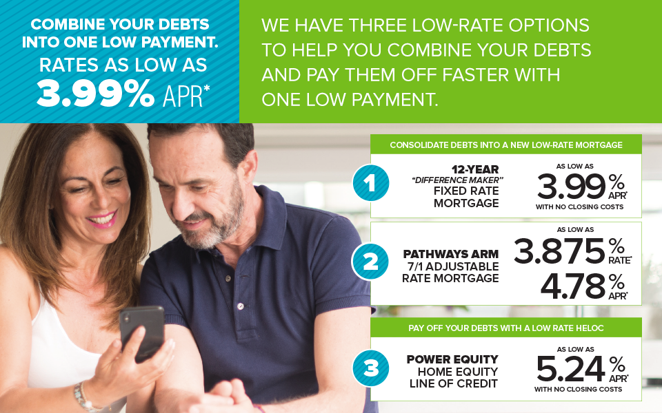 Combine your debts into one low payment